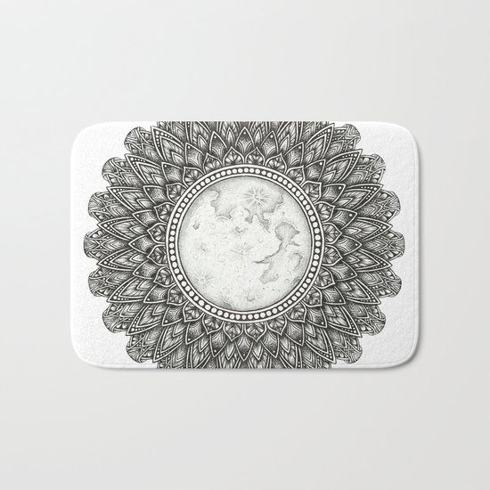 Black and White Moon Mandala Bath Mat