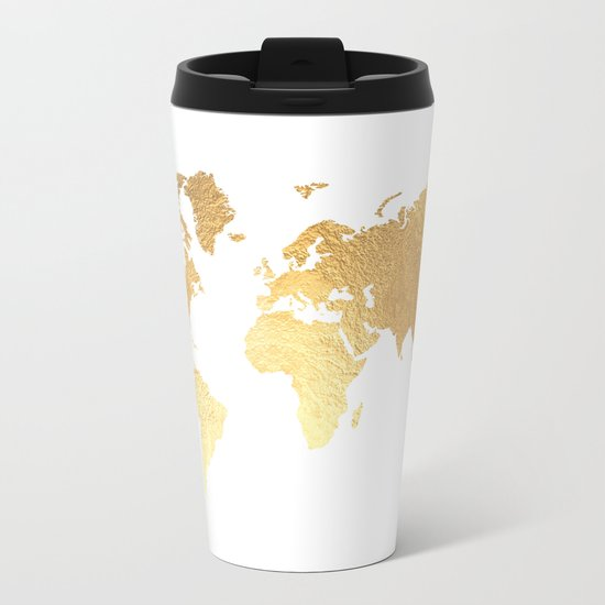 Textured Gold Map Metal Travel Mug