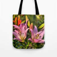 lily Tote Bags featuring lily by Karl-Heinz Lüpke