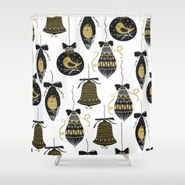 Black and Gold Modern Christmas Ornament Print Shower Curtain