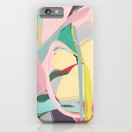 Shapes and Layers no.23 - Abstract Draper pink, green, blue, yellow iPhone Case