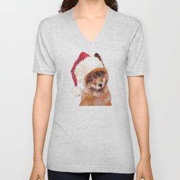 Christmas Baby Fox Unisex V-Neck