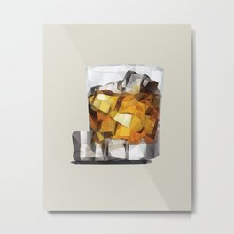 Whiskey on the Rocks Polygon Art Metal Print