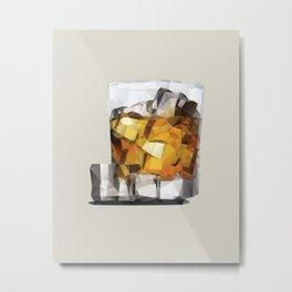 Whiskey on the Rocks Polygon Art Metal Print