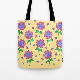 Love Buzz Flower Pattern Tote Bag