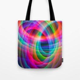 Spirograph rainbow light painting Tote Bag