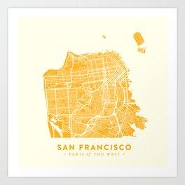 San Francisco City Map 03 Art Print