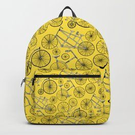 Monochrome Vintage Bicycles On Bright Yellow Backpack