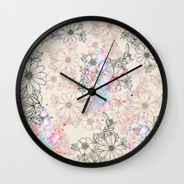 Modern vintage black rose gold watercolor floral Wall Clock