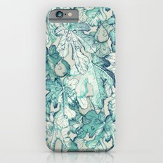 Fig Leaf Fancy - a pattern in teal and grey iPhone 6 Slim Case