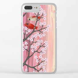 cardinals & tulips in spring Clear iPhone Case