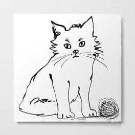 Katzen 012 / Cute Kitten Minimal Line Drawing Metal Print