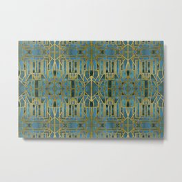 Elegant Retro Art Deco Pattern With Marble Elements Metal Print