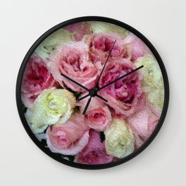 Gorgeous light pink and mauve wedding bouquet Wall Clock