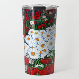 Rubies and Pearls, Red Poppy and Daisy Painting Travel Mug
