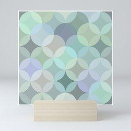 Shades of blue circle mosaic Mini Art Print