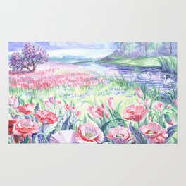 A field of summer flowers Rug