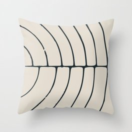 Sections, Circles and Lines, Charcoal Gray on Cream Throw Pillow