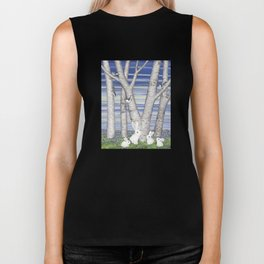 nuthatches, bunnies, and birches Biker Tank