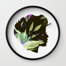 Face silhouettes floral light green Wall Clock