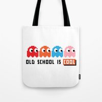 pacman Tote Bags featuring Pacman by PixelPower