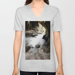Climbing Down to the 200-Foot Depths of Box Canyon Falls Unisex V-Neck