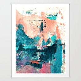 Sugar: a fun, minimal mixed-media abstract piece in pinks and blues Art Print