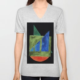 180818 Inverted Geometrical Watercolour 2| Colorful Abstract | Modern Watercolor Art Unisex V-Neck