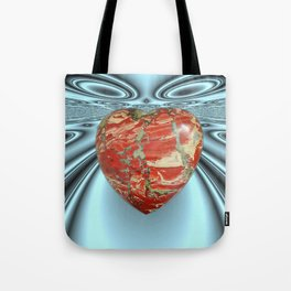 RED JASPER Heart in Universe Tote Bag