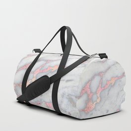 Rosegold Pink on Gray Marble Metallic Foil Style Duffle Bag
