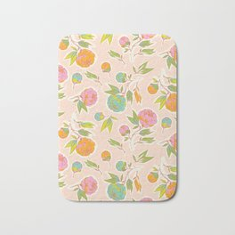 Bright colorful summer florals on blush pink Bath Mat