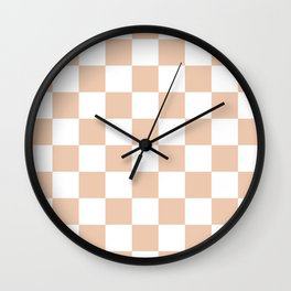 Checkered - White and Desert Sand Orange Wall Clock
