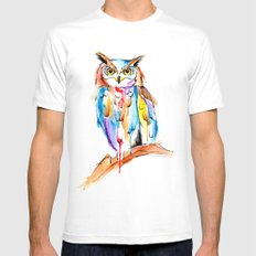 watercolor owl Mens Fitted Tee MEDIUM White