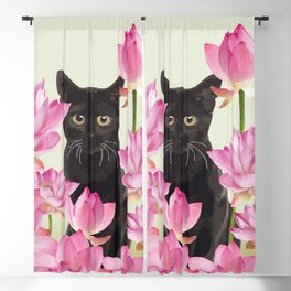 Lotus Flower Blossoms Black Cat Blackout Curtain