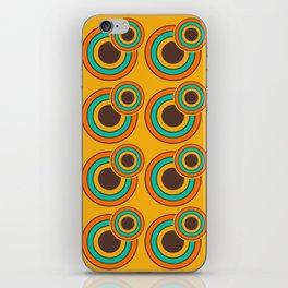 1970's Retro Circles Design Orange Brown & Blue iPhone Skin