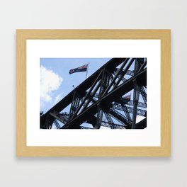 Sydney Harbour Bridge and Flag. Australia. Framed Art Print