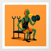 workout Art Prints featuring Pigeon Workout by Chi Birmingham