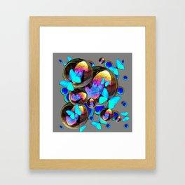 BLUE & GOLD  BUBBLES BLUE BUTTERFLIES PEACOCK EYES Framed Art Print