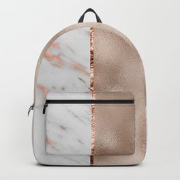 Rose metallic striping - marble and blush Backpack