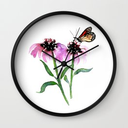 Monarch Butterfly with Echinacea Wall Clock