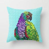 parrot Throw Pillows featuring Parrot  by Kanika Mathur Design