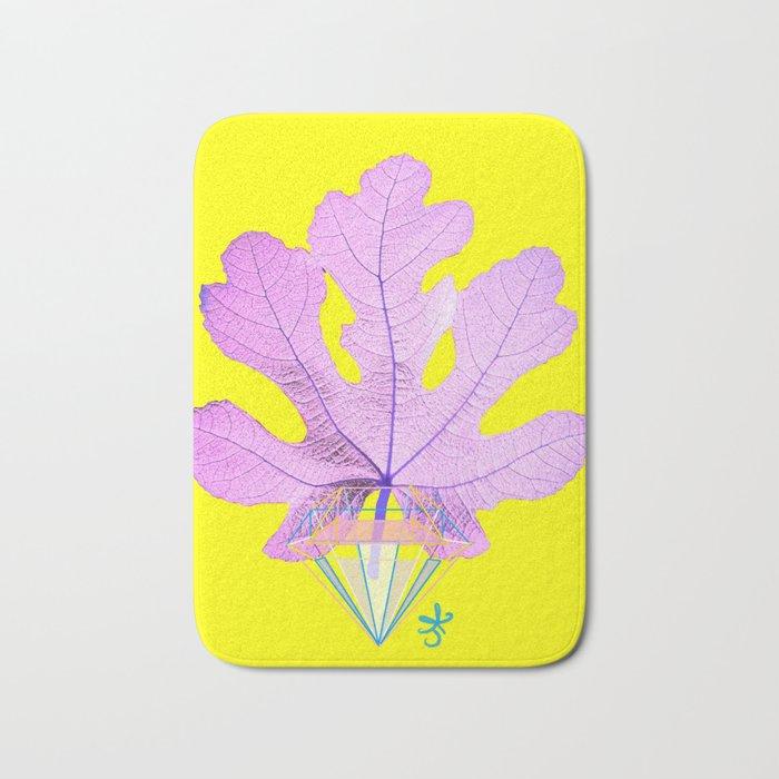 Fig Leaf Diamond Christmas Yellow Golden Bath Mat