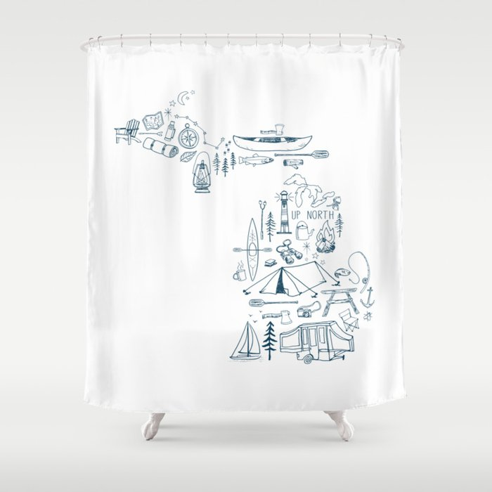 Up North Collage Shower Curtain