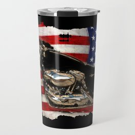 Patriotic US Flag and Motorcycle Travel Mug
