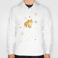 fox Hoodies featuring Lonely Winter Fox by Teagan White