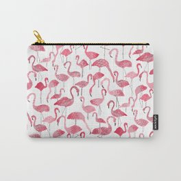 Tropical pink watercolor abstract floral flamingo Carry-All Pouch