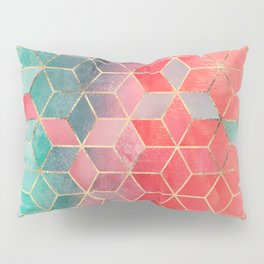 Rose And Turquoise Cubes Pillow Sham