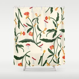 Mushrooms and Flowers Hanging Out Shower Curtain