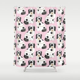 Staffordshire Dog Figurines No. 2 in Light Bubblegum Pink Shower Curtain