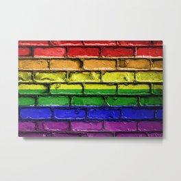 Colorful LGBT rainbow pride flag brick wall Metal Print
